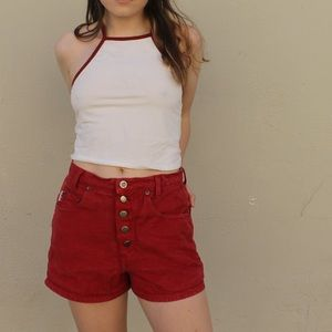 4761df279a Best World Brand Shorts - Vintage B.W.B Red 5 Open Fly Button Up Short 🚒